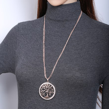 Tree of life Crystal Big Pendant Necklace Women Gold Silver Colors Elegant Sweater Long Chains Necklace Christmas Gifts For Her(China)