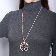 Tree of life Crystal Big Pendant Necklace Women Gold Silver Colors Long Sweater Chains Necklace Fashion Jewelry Gifts 2019 New round owl pendant necklace for women tree life crystal necklace gold silver rhionstone jewelry female animal collar 2019 fashion