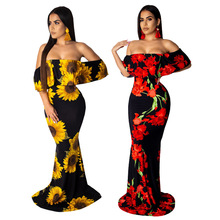Sexy Digital Print Off-the-shoulder Tube Top Long Dress Open-Back Ruffled Slim Package Hip Dress contrast lace open the shoulder top
