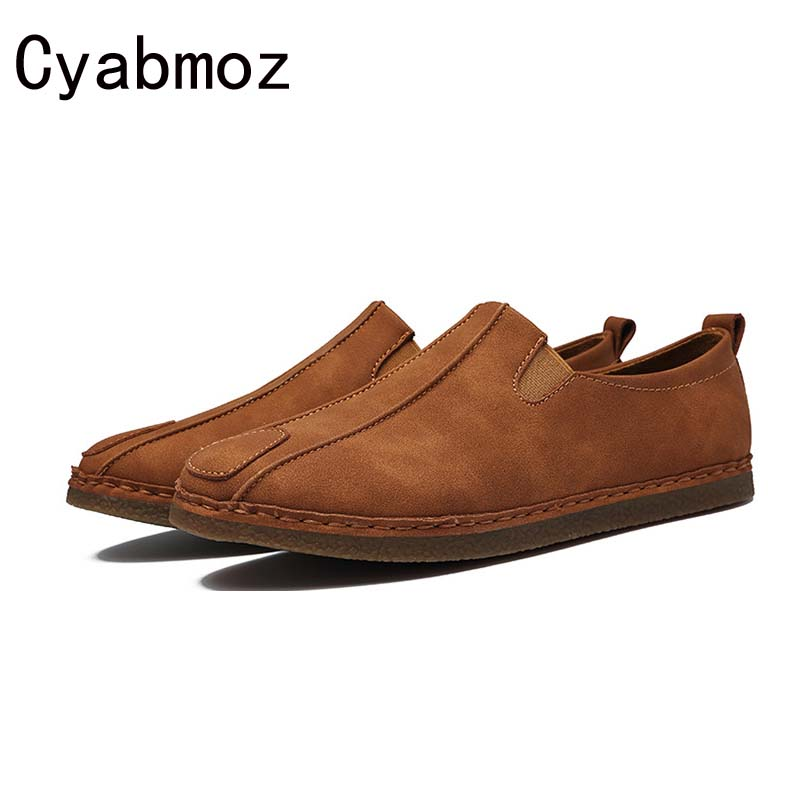 2018 Hot Comfortable Retro Men Shoes Nubuck Leather Men Loafers Fashion Suede Autumn Mens Driving Shoes Vintage Casual Shoes Man top brand high quality genuine leather casual men shoes cow suede comfortable loafers soft breathable shoes men flats warm