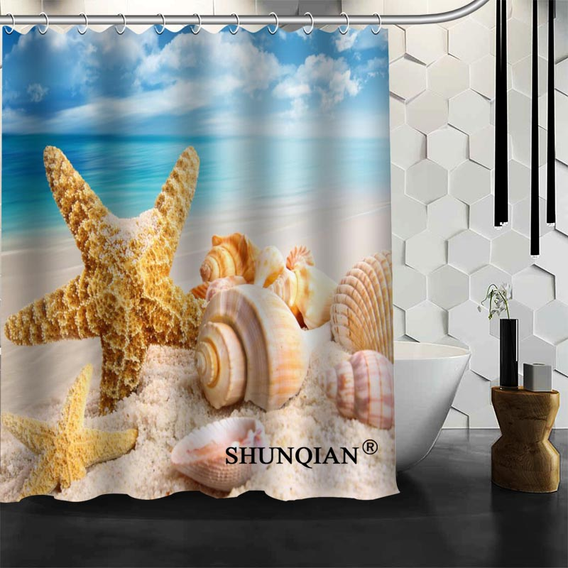 Waterproof Bathroom Curtains Modern Beach shells Shower Curtain polyester Bath screens Customized curtain