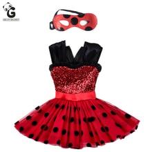Milagrosa Niñas Vestido de Los Cabritos Del Vestido de Flash para La Muchacha Máscara Cosplay Disfraces de Halloween Rojo Mariquita Marinette Bobo Choses Ropa Del Niño(China (Mainland))