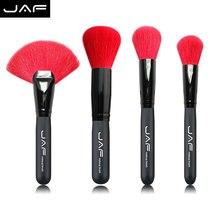JAF Brand Red Goat Hair makeup brush set 4 pcs large Powder Makeup brush kit eye shadow brush beauty cosmetics tool set