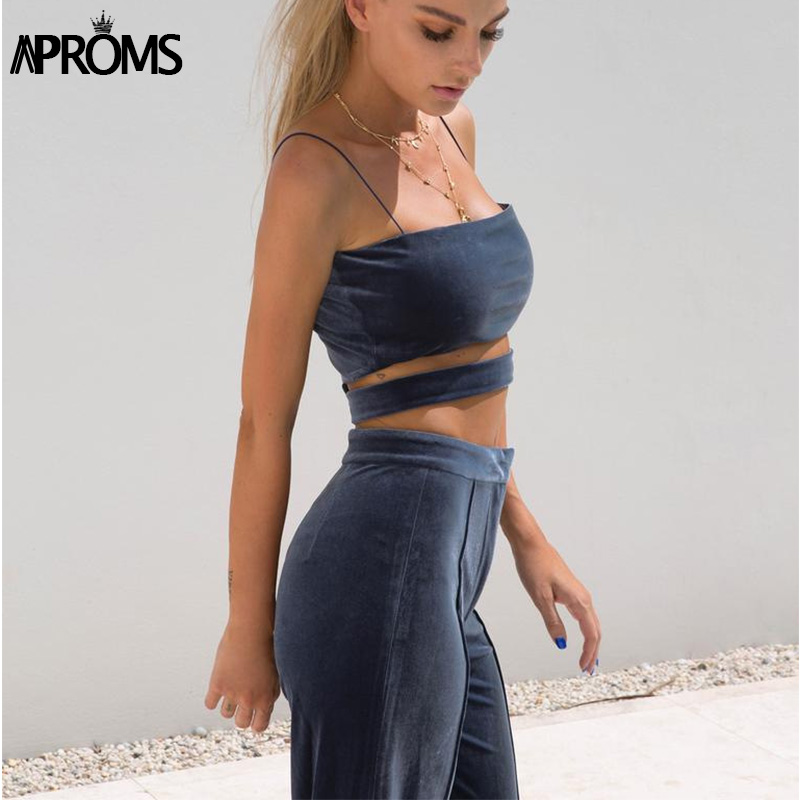 Aproms Khaki Basic Velvet Crop Top Cami Fashion 2019 Women Streetwear Elastic Strap Zipper Tank Top 90s Cool Bustier Cropped Tee in Camis from Women 39 s Clothing