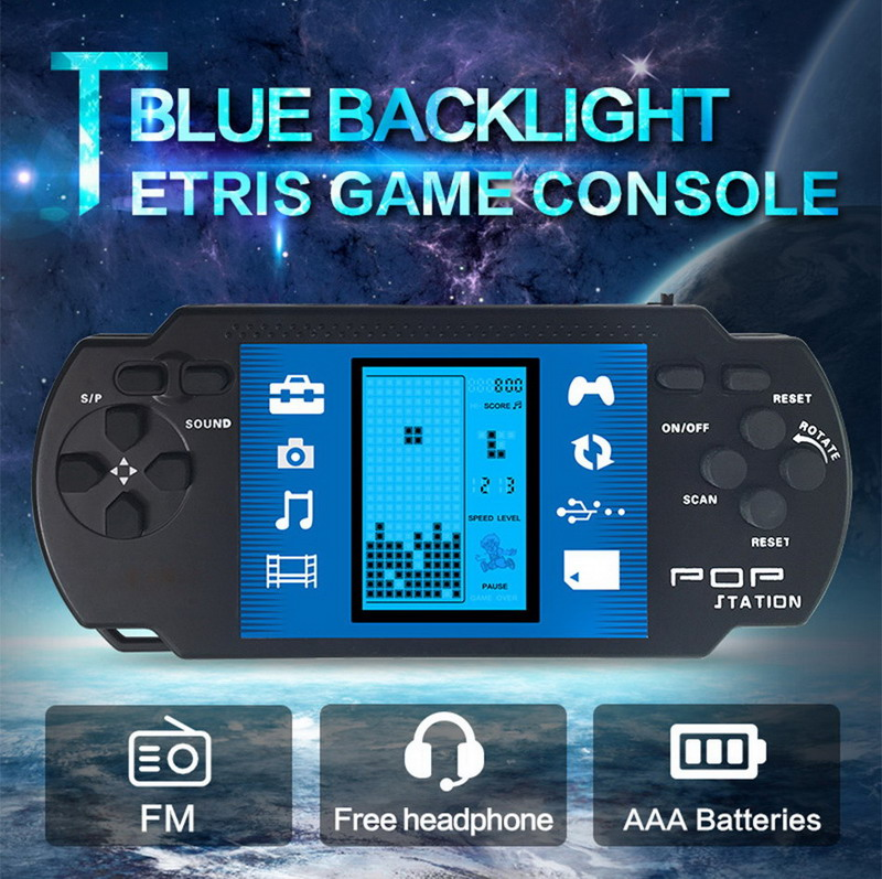 Blue backlight Retro Portable Tetris Handheld Game Console play in the dark with FM radio Kids Educational toys