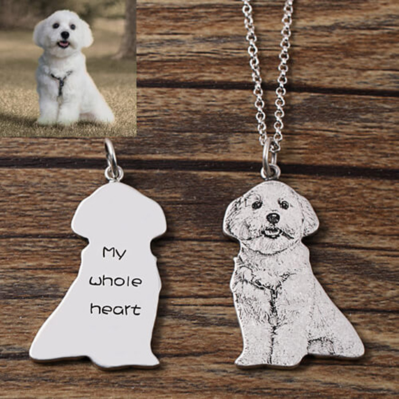 Custom Pet Photo Necklaces  Pendant  Engraved Name wish 925 Sterling Silver Dog Tag .photo custom jewelry.photo personalized 1
