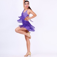 hot sale good quality sexy tassel Latin dance dress purple elegant tango/rumba/samba dance wear competition wear