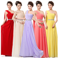 LC402M 2016 women dress One Shoulder A-line Floor-Length Chiffon Long Bridesmaid Dresses Plus Size mint green red pink white
