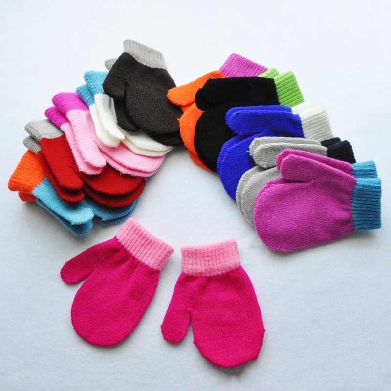 1 זוג ילדי ילדי כפפות חורף סרוג כפפות עבור בני ילדה צבעוני דפוס חם Luvas רך חם כפפה Handschoenen