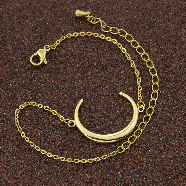 Wicca Jewelry Crescent Moon Charm Bracelets For Women Men Christian Jewelry Gold Silver Open Circle New Moon Pulseira Feminina