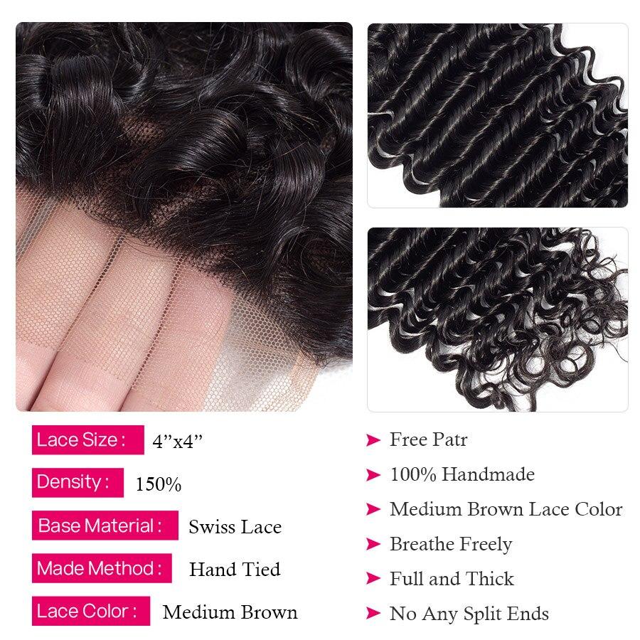 HTB1sj5 XcnrK1RjSspkq6yuvXXau Princess Hair Deep Wave Bundles With Closure Double Weft Human Hair Brazilian Hair Weave 3 Bundles With Closure RemyMedium Ratio