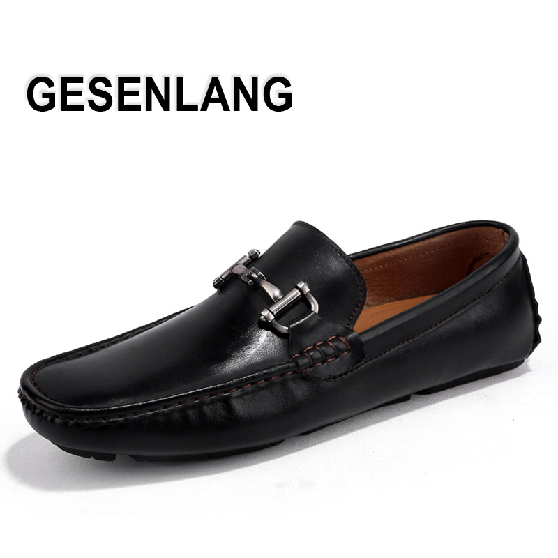 Men s Genuine Leather Loafers Walking Shoes 2019 Summer Breathable Barefoot Shoes Exquisite Business Party Driving