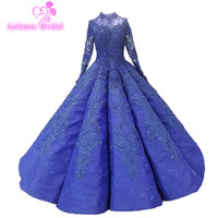 AOLANES 2018 Long Sleeves Royal Blue Lace Arabic Muslim Wedding Dresses O neck Floor length Waves Ball Gown Lace Up Bridal Gown