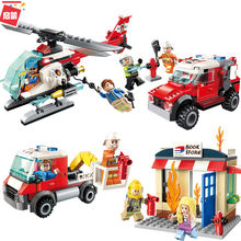 ENLIGHTEN City Friends Police Fire Truck Spray Water Gun Firemen Car Aircraft Building Blocks Sets Kids Toys Compatible Legoings(China)