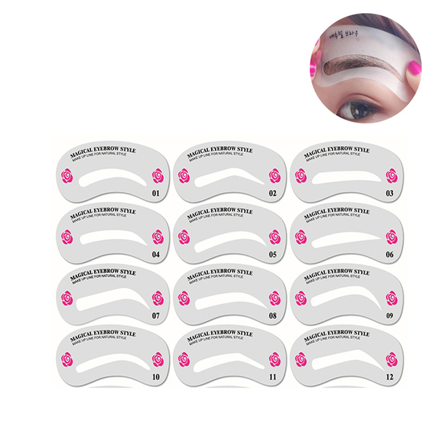 24 Pcs Reusable Eyebrow Stencil Set DIY Eye Brow Drawing Guide Styling Shaping Makeup Template Card Auxiliary Women Beauty Tool