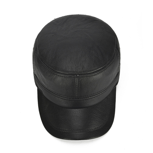 Fall Winter Men Real Leather Earlap Hats New Hot Male Real Natural Cowhide Leather Baseball Caps Outdoor Real Cow Leather Cap