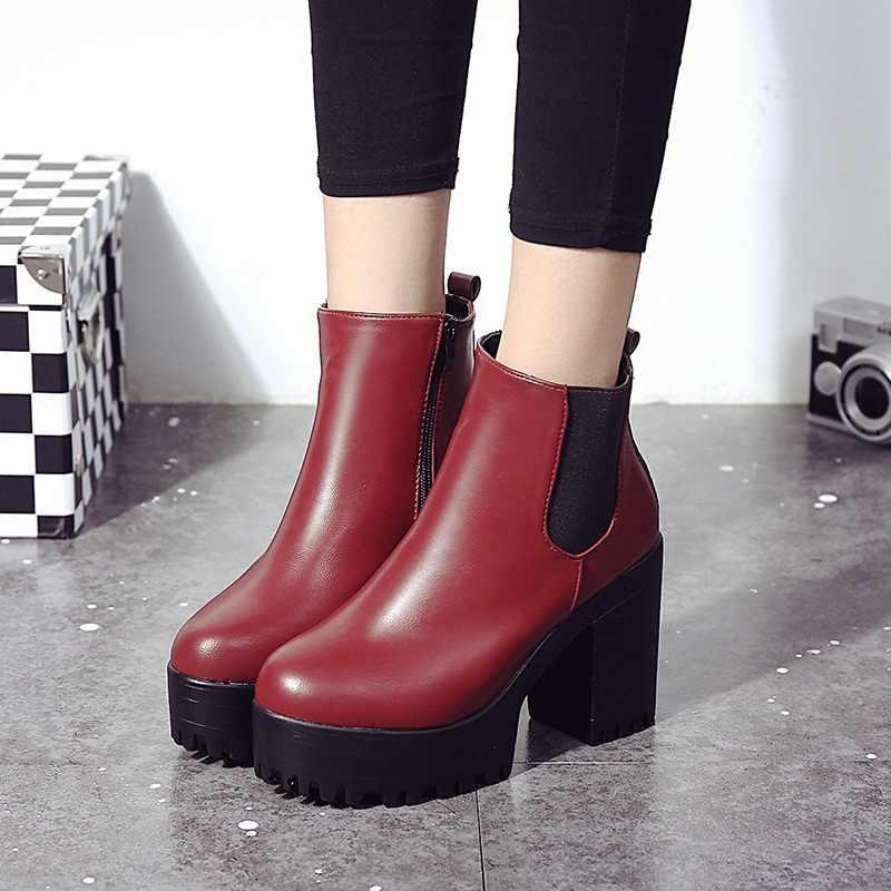 Chelsea botas femininas de couro 2019 botas de salto grosso botas de tornozelo para mulher dedo do pé redondo sapatos de inverno botas de plataforma plana