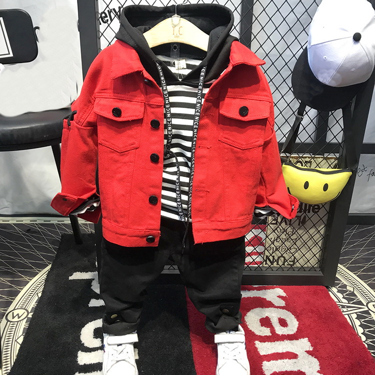 2018 Boys Autumn Kids Boys Clothing Sets Denim jacket + hoodie + pants 3 Pieces Coat Long Sleeve Top Cardigan Fashion Set
