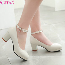 QUTAA 2019 Women Pumps Pu Leather Fashion Shoes Square High Heel Round Toe Pink Cute Style Buckle Women Shoes Size 34-43