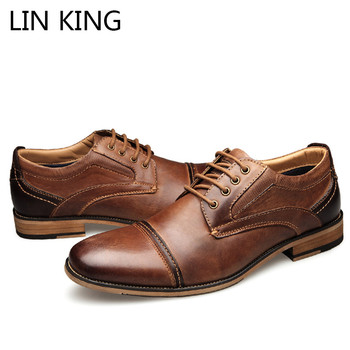 LIN KING Spring Autumn Plus Size 40-50 Men Genuine Leather Dress Shoes Lace Up Round Toe Oxfords Shoes Wedding Party Formal Shoe british style casual leather shoes men lace up round toe retro shoes spring summer oxfords cow leather pure black