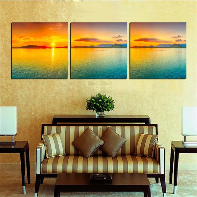Modern Canvas Painting Golden Sunset Seascape Paintings Wall Art ...