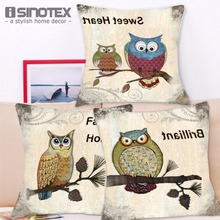 43*43cm Soft Breathable Linen Fabric Durable Sofa Decor Throw Pillows With  Owl Pattern Case