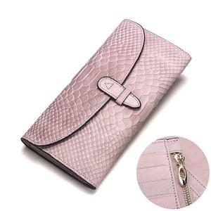 Image 2 - Роскошный брендовый Женский кошелек из натуральной кожи, дамские сумочки, розовый кошелек с тиснением под змеиную кожу, дизайнерская длинная сумочка на защелке для мобильного телефона, держатель для карт