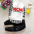 1-4years 2016 BABY boy spring and autumn White and black letters MCM long-sleeved plaid sweater plus hole trousers two-piece set