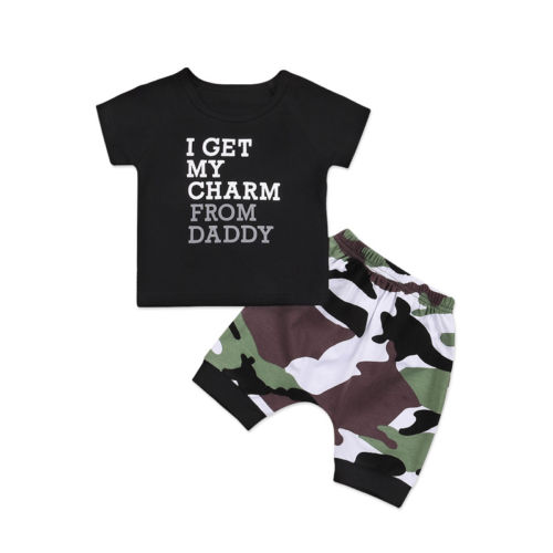 Clothing Sets Mother & Kids Camo Pants Shorts Clothes 2pcs Outfits 1-6t Gentle Pudcoco 2018 Toddler Kids Baby Boy T Shirt Top
