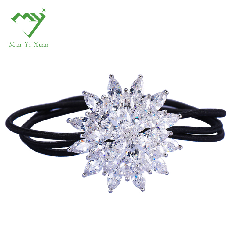 zircon elastic hairbands hair rope girl crystal Fashion Headwear Rhinestone Hair Accessories For Women hairdress rubber headband