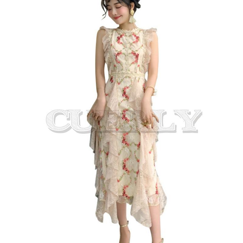 Cuerly Summer Runway Dress 2019 High Quality Elegant Flower Embroidery Mesh Long Sleeveless Ruffle lace vestidos