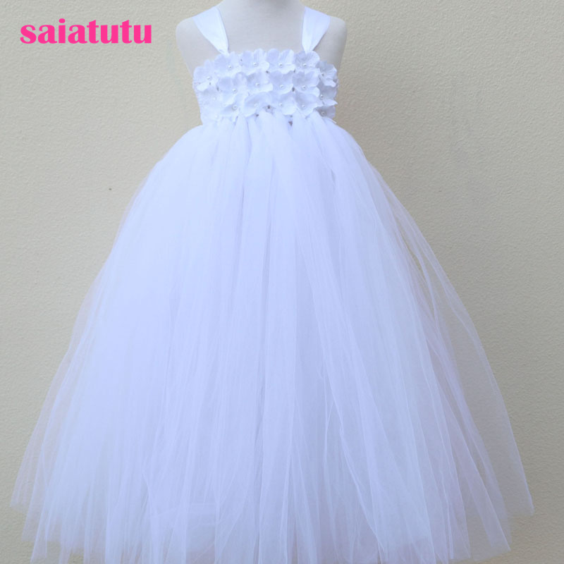 pure white baby bridesmaid flower girl wedding dresses tulle fluffy birthday evening prom cloth tutu girl petalparty dress kids fashion comfortable bridesmaid clothes tulle tutu flower girl prom dress baby girls wedding birthday lace chiffon dresses