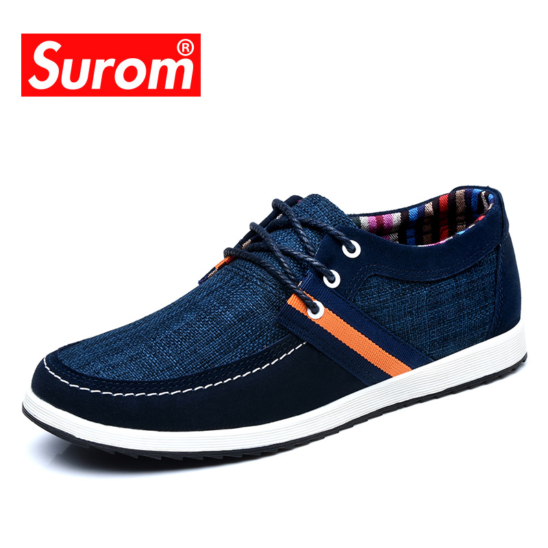 SUROM Classic Male shoes adult Lace up Tennis Anti-odor Fashion Boat Casual Shoes Canvas spliced with Suede Men krasvoki