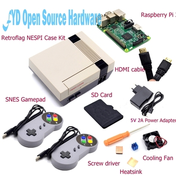 1set NESPI Case with Raspberry Pi 3+16G Card+Fan+2pcs SNES Gamepad+EU Power Adapter+Heatsink+Cable for RetroPie