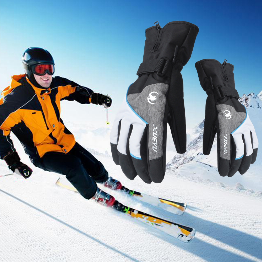 Grey Warm Ski Gloves Snowboard Skiing Gloves Motorcycle Riding Winter Gloves Windproof Waterproof Snow Glove Men Women leather ...