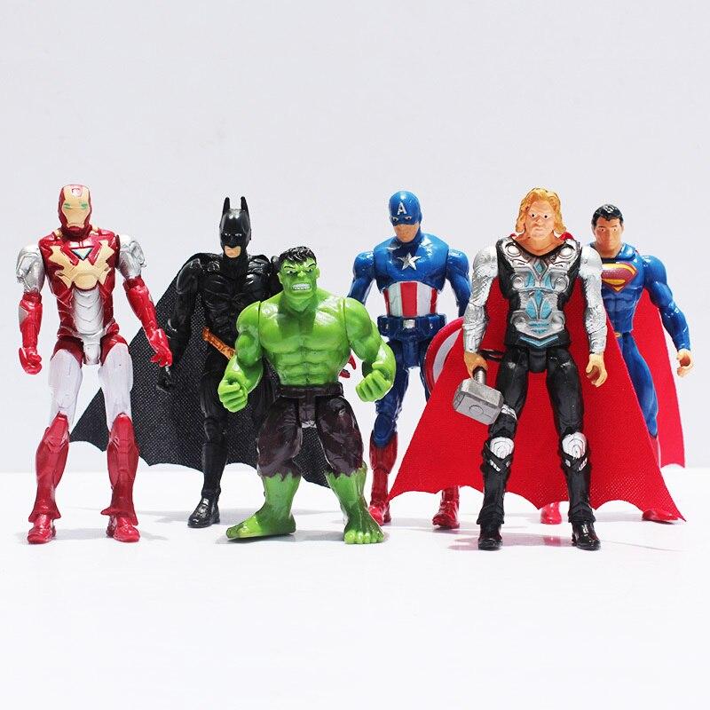 6pcs/lot The Avengers Batman <font><b>Spider-Man</b></font> <font><b>Iron</b></font> Man Hulk Thor Captain America Joint Moveable PVC Figure Model Toy for Kid