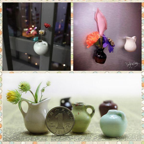 O envio gratuito de Vaso de Cerâmica Brinquedo 5 pçs / lote Flor decoração Geladeira Figuras DIY escritório em casa decoração ímãs festa presente do miúdo