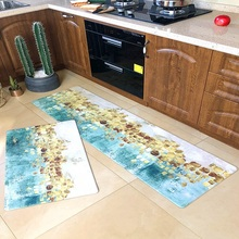 Kitchen mat Oilproof waterproof non-slip pvc leather floor Modern Nordic simple home long strip carpet Slow rebound rug