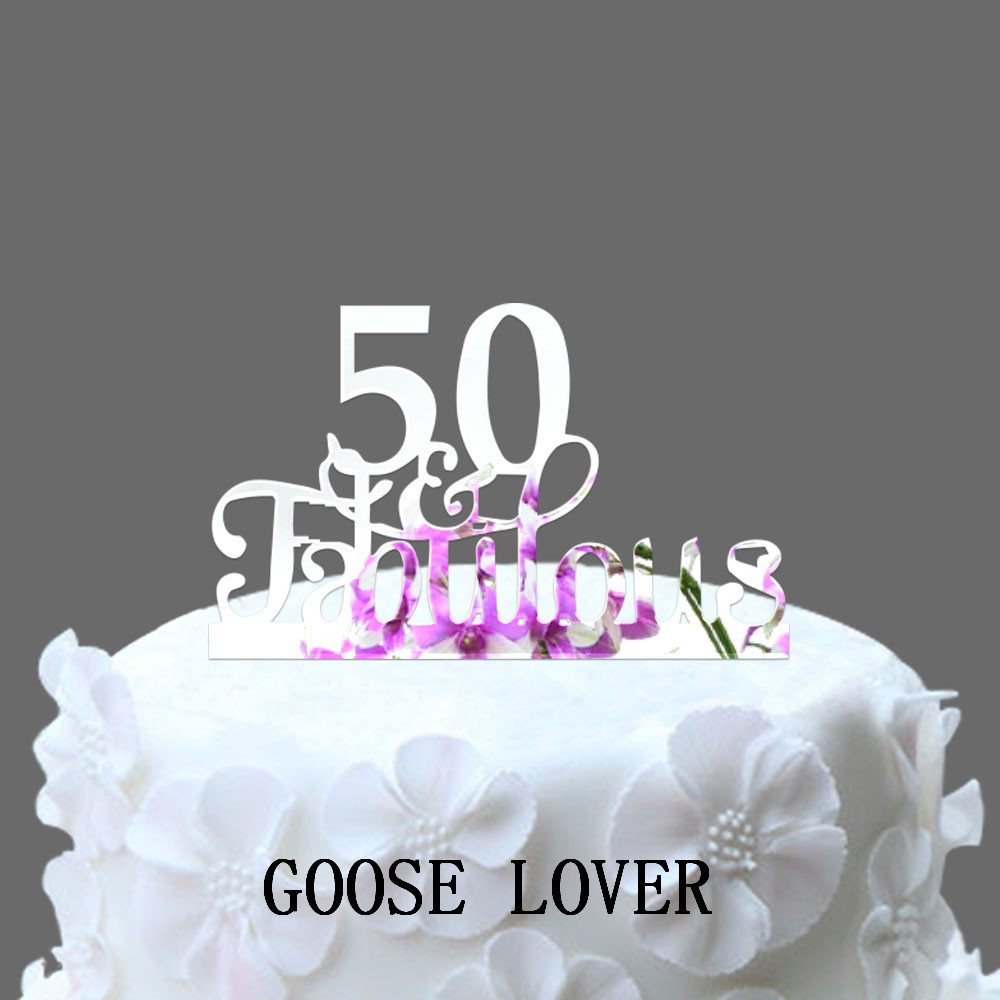 50th And Fabulous Cake Topper 50th Birthday Cake Decoration Acrylic