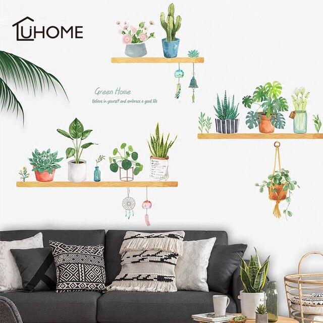 Bonsai Topf Blume Grünen Pflanzen Wand Aufkleber für Kinder Zimmer  Wohnzimmer Küche Fenster Home Decor Dekorative Wohnkultur