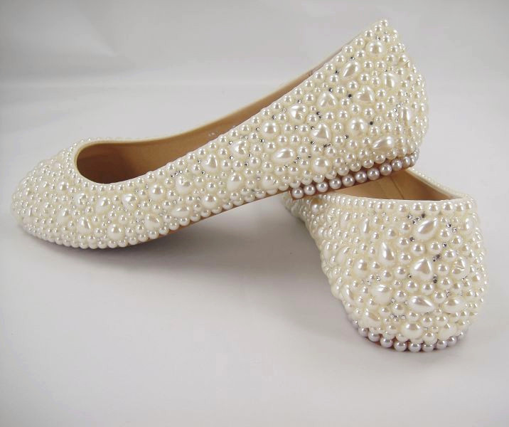 7dfc5f89b71a Flat Bridal Shoes  Pearls Wedding Shoes  Pearl White Lace Shoes Heart Shape Pearl  Bridal Shoes Size 4.5 8.5-in Women s Flats from Shoes on Aliexpress.com ...