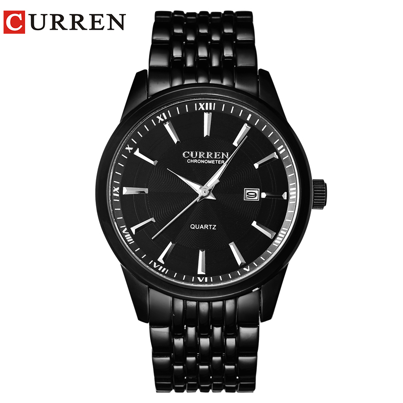 CURREN New Watches Fashion Simple Style Calendar Casual Business Men Wristwatch Full Steel Quartz Male Clock Waterproof Watch