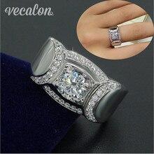 Vecalon Clásico AAAAA Zircon Cz 2ct Joyería de Los Hombres anillo de Boda Anillo de Compromiso de Plata de ley 925 hombres Del anillo de Dedo de Regalo