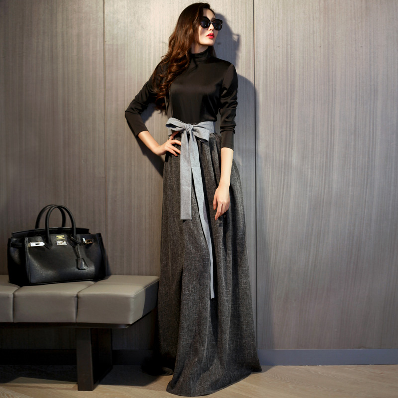 2017 New Spring Autumn Female Elegant Long Sleeve Grey Maxi Dress Women Plus Size Floor Length