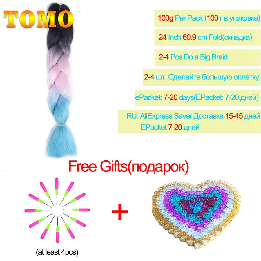 "TOMO 24 ""Ombre trenzado de pelo sintético de ganchillo trenza extensiones de cabello 100g Jumbo trenzas de boxeo Dreadlocks de pelo a granel"