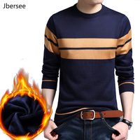Jbersee Plus Cashmere Sweater Men Winter Sweater Brand Casual O Neck Slim Mens Knitted Wool Pullover