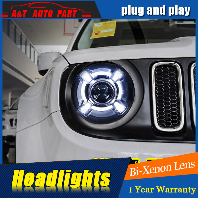 Car Styling For JEEP Renegade headlights For Renegade LED head lamp Angel eye led DRL front light Bi-Xenon Lens xenon HID union car styling for renegade headlights for renegade hid head lamp angel eye led drl front light for jeep renegade hid lamp