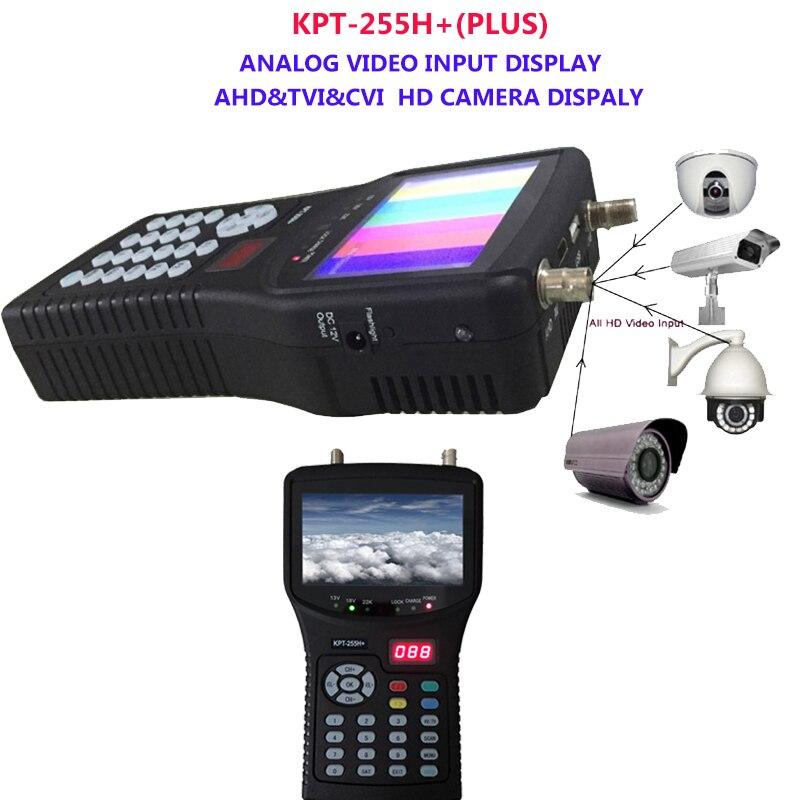 Satellite TV Receiver kpt 255h Plus finder hd test cctv camera lcd backlight button 4.3 inch DVB S/S2 signal test with av usb