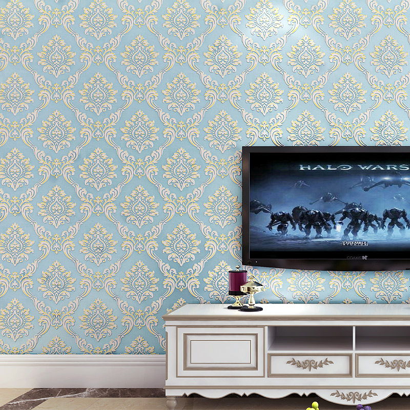 European Style Classic Luxury Damask 3D Stereo Relief Non-woven Wallpaper Living Room Bedroom TV Backdrop Wall Paper Home Decor luxury damask wall paper roll floral 3d stereoscopic embossed non woven mural wall bedroom living room tv background home decor