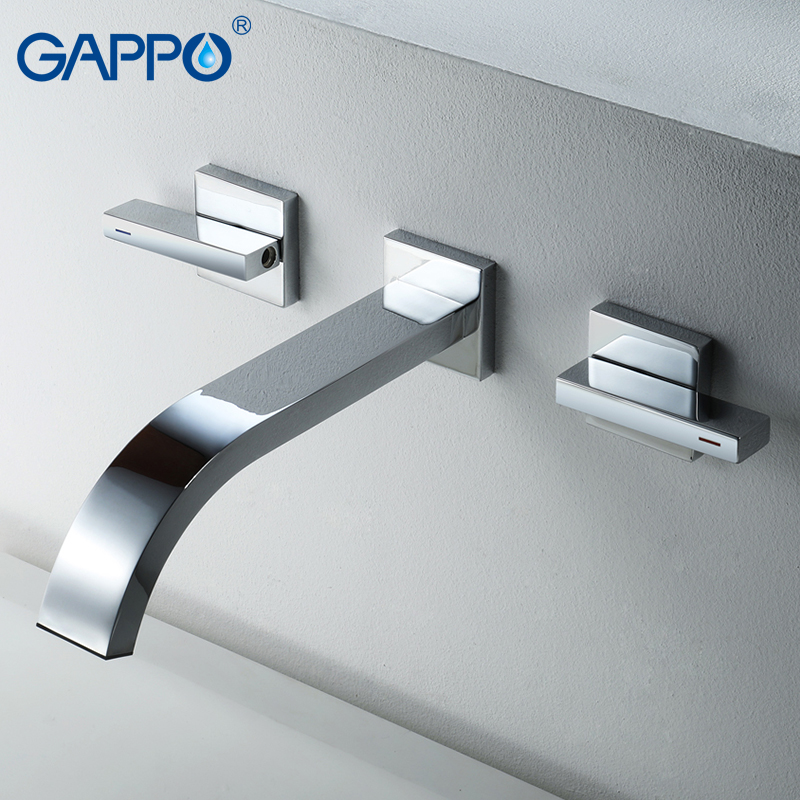 GAPPO Basin faucet Brass sink faucet Wall Mounted taps basin mixer tap bathroom Waterfall faucets double